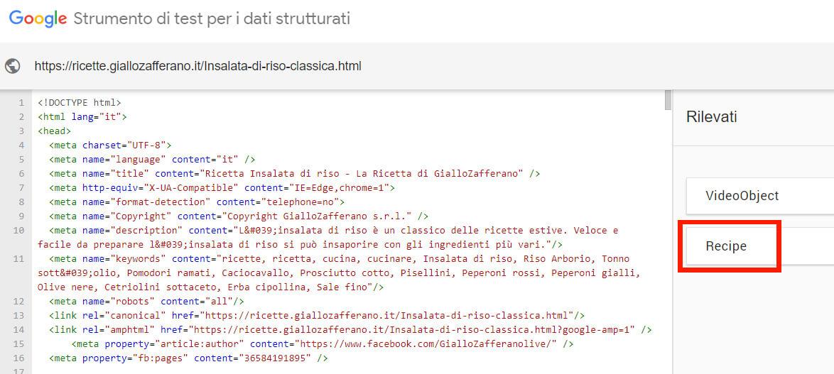 Esempio di Dati Strutturati Schema.org